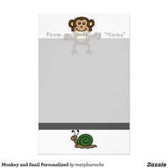 Monkey and Snail Personalized Personalized Stationery