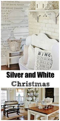Silver and White Christmas Decorating.  This farmhouse has so many great ideas for decorating.