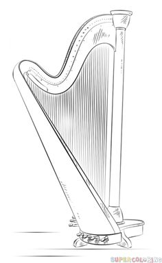 How to draw a harp | Step by step Drawing tutorials