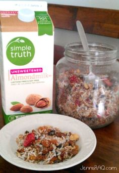 Paleo Cereal: almonds, pecans, walnuts, dried fruit, coconut