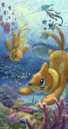 brown_hair buizel coral coral_reef corsola ho-oh_(artist) milotic no_humans ocean outdoors pearl pokemon pokemon_(creature) rock sand seashell shell swimming underwater wailord Gif Pokemon, Pokemon Images, Pokemon Fan Art, Pokemon Cards, Pokemon Fusion, Cool Pokemon Wallpapers, Pokemon Backgrounds, Cute Pokemon Wallpaper, Photo Pokémon