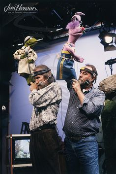 Jim and Jerry Nelson taping for Sesame Street, 1980s.