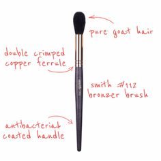 #112 Bronzer Brush Made with the softest pure black goat hair, this brush applies soft, diffused color to give the complexion warm, natural look. Product Pairin  Kathryn Lights uses for powder under eye and face