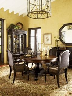 Tommy Bahama Home - Kingstown Bonaire Round Pedestal Dining Table, Lexington, Tommy Bahama Home - Kingstown