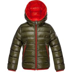 Moncler Mir Hooded Lightweight Down Puffer Jacket ($490) ❤ liked on Polyvore featuring outerwear, jackets, olive, straight jacket, army green jacket, lightweight puffer jacket, brown jacket y hooded puffer jacket