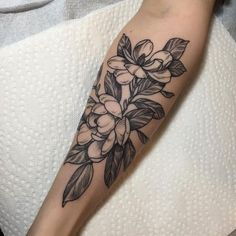 magnolias for Olivia. thanks for waiting around for me all day on the black medicine couch! i hope it was worth it