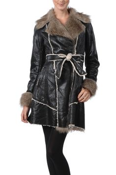 Grey Shearling Biker Jacket