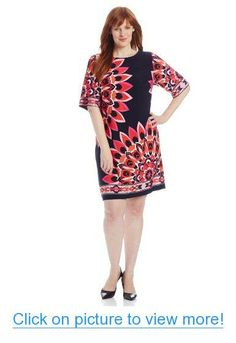 Sandra Darren Women's Plus-Size Elbow Sleeve Floral Printed Dress #Sandra #Darren #Womens #Plus_Size #Elbow #Sleeve #Floral #Printed #Dress