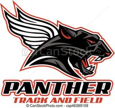 Vector - panther track and field - stock illustration, royalty free illustrations, stock clip art icon, stock clipart icons, logo, line art, EPS picture, pictures, graphic, graphics, drawing, drawings, vector image, artwork, EPS vector art