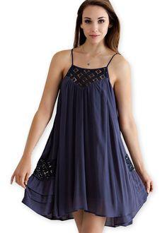 Charcoal High-Low Slip Dress