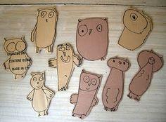 children's drawings of owls - add felt, magnet, wood, or popsicle sticks for feltboard, magnet board, dolls, or puppets