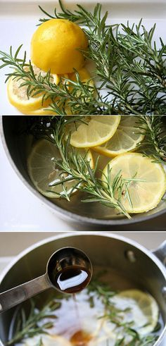 House refresher--water, lemons, vanilla and rosemary simmer on the stove... Make the house smell great!