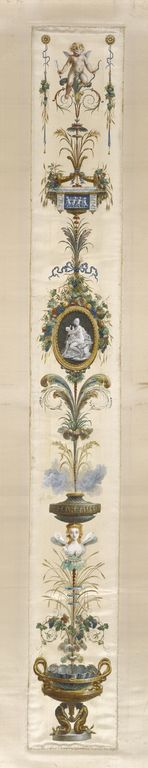 Painted Panel; Unknown; Paris, France; about 1780; Gouache on silk with gold paint; 144.8 x 17.8 cm (57 x 7 in.); 73.DH.89.5