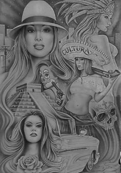 NYC Art by Chicano Tattoos Gangsters, Lettrage Chicano, Chicano Style Tattoo, Chicano Love, Chicano Drawings, Prison Drawings, Arte Cholo, Cholo Art, Aztec Warrior Tattoo