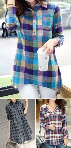 plaid print shirts, shirts for women, casual shirts, cute shirts, printed shirts Cool Outfits, Casual Outfits, Indian Designer Wear, Autumn Winter Fashion, Fall Winter, Blouse Designs, Casual Shirts, Fashion Dresses, Clothes For Women