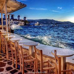 Having dinner with a view in Little Venice, Mykonos