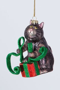 Cat With Ribbon Ornament, Holiday Ornaments, Home Furnishings - The Museum Shop of The Art Institute of Chicago
