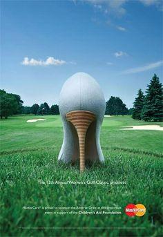 mastercard ハイヒールをゴルフボールに見立てた、カナダで行われた女子ゴルフトーナメントの広告デザイン。