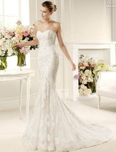 Strapless Mermaid / Trumpet lace wedding dress FLSW98