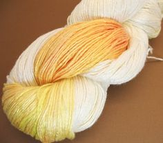 "Organic, hand dyed, bamboo yarn ""Daisy"" vegan, fingering, self striping, hand painted, knitting yarn, natural,  7.4 oz, summer yarn"