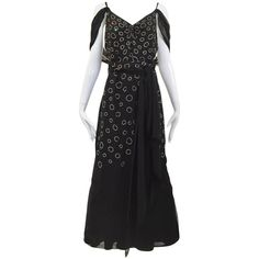 1930s Black and silver rhinestones  evening gown | From a collection of rare vintage evening dresses and gowns at https://www.1stdibs.com/fashion/clothing/evening-dresses/
