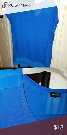 THE LIMITED Blue Mesh Tunic mesh top tunic is perfect for work!   Price is firm. The Limited Tops Tees - Short Sleeve