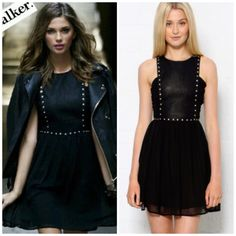 STYLESTALKER faux leather bodice black dress The perfect juxtaposition of sweet and edgy. Brand new without tag STYLESTALKER little black dress. Chiffon detailing on the sides and bottom. Faux leather studded panel across front. Back zip closure. The Style Stalker dress was originally from Nasty Gal & $178. Nasty Gal Dresses Mini