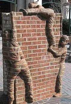 """Street art """"Another brick in the wall"""" - In Gorzow, Poland by Paula West. 3d Street Art, Street Art Graffiti, Banksy, Art Public, Brick In The Wall, Brick Walls, Brick Fireplace, Fireplace Design, Sidewalk Art"""