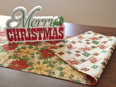 Christmas Table Runner Poinsettia Pinecones Holly Berries Reversible Music Notes Red Green Beige Yellow Gold - pinned by pin4etsy.com