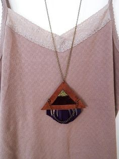 Geometric Suede Leather Necklace Glitter and Leather Necklace