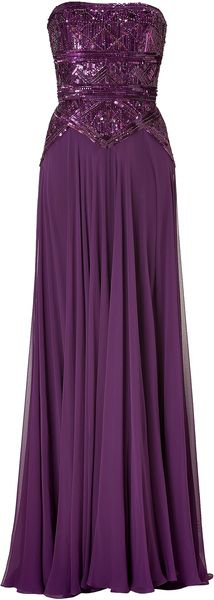 Elie Saab Pansy Purple Sequined Bodice Silk Evening Gown