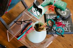photo booth props and chalkboards