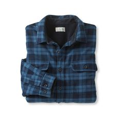 Fleece-Lined Flannel Shirt, Traditional Fit (€58) ❤ liked on Polyvore featuring tops, flannels, blue flannel shirt, fleece lined flannel shirt, fleece lined shirt, shirt tops and flannel top