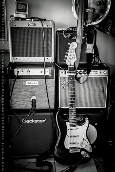 "Tonehenge!I call my pile of low wattage tube amps ""Tonehenge"". :DThe two main ""sarcens"" ar the 2012 Marshall 50th Anniversary JTM-1C, and the 1968 drip edge Fender Vibro Champ. Playing ""lintel"" to the sarcens is the tweed 1957 Fender Champ and Blackstar HT-1.The guitar is my 1988 Fender American Standard Stratocaster."