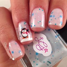 Cute Penguin Manicure for Winter/Holidays