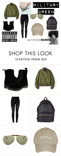 """""""Military"""" by shamariejanee ❤ liked on Polyvore featuring Dr. Martens, Yves Saint Laurent and Ray-Ban"""