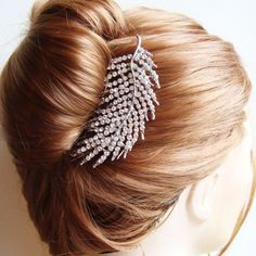 Crystal Leaf Bridal Hair Comb Bridal Hairpiece by luxedeluxe, this would go great with Kim's dress