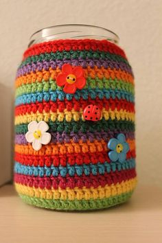 Jam Jar Cover made with Dale Falk yarn