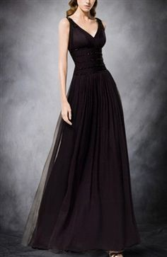 Chiffon V-Neck Floor-Length Black Tie Event Dress