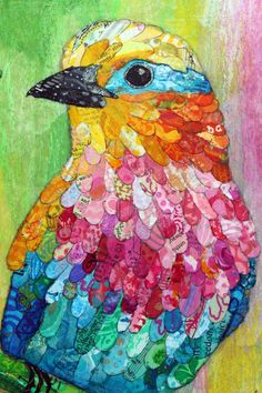 By Artist Lisa Morales Mixed Media Collage Original - Lilac Breasted Roller  This bright roller bird will add a pop of color to any décor. This piece was created using a variety of papers that I paint and texture myself. Some of the papers used include sheet music, dictionary pages, recipes, maps, and art papers. Each piece is torn by hand and assembled in a ...