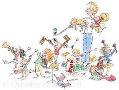 The Very Best Of All Is When We We All Join In by British Contemporary Artist Quentin Blake Vintage Illustration Art, Children's Book Illustration, Chris Riddell, Quentin Blake Illustrations, Roald Dahl, Love Drawings, Drawing For Kids, Character Design, Prints
