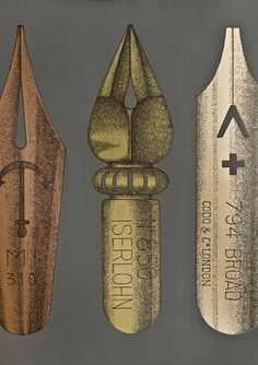 Pennini Wallpaper Large pen nib frieze in charcoal with metallic copper, brass and gold nibs.