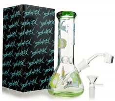 LLY-Glass Thick Glass Beaker Ice Pipe with Bowl 19.5 Inch Black