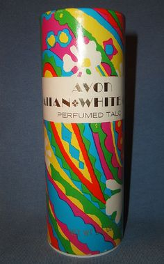 """Vintage Signed Avon 1968-1973 """"Hawaiian White Ginger Talc"""" ~ in psychedelic colors"""