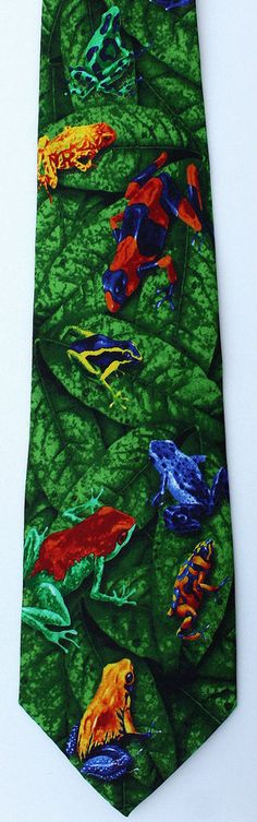 New Tropical Frogs Mens Necktie Colorful Frog Rain Forest Green Animal Neck Tie #Eagle #NeckTie