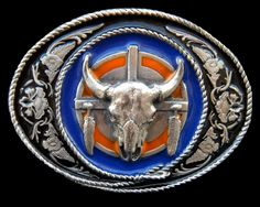 NATIVE ART TEXAS RANCH STEER MEN'S WESTERN BELT BUCKLES