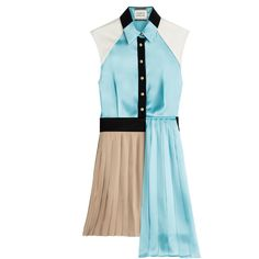 Fausto Puglisi Asymmetric Dress (2.135 RON) ❤ liked on Polyvore featuring dresses, teal, short pleated dress, slim fit dress, blue pleated dress, blue fitted dress and asymmetrical dress