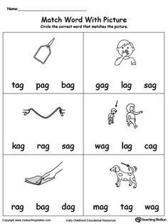 Match Word with Picture: AG Words: Provide your child with experience in identifying words ending in –AG by matching the words with each picture.