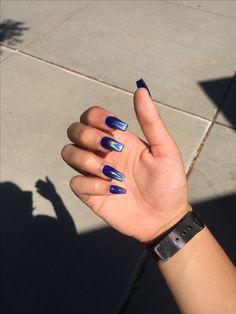 blue coffin holographic ombré nails