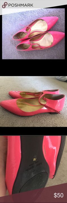 Kate Spade 💝💕💝 peep toe flat Barbie pink size7 Very pretty flats ... complements the feet !!🌸👠 used condition ... but has a lot of life !! Size 7 US kate spade Shoes Flats & Loafers
